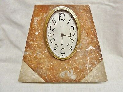 antique marble clock art deco triangle french 8 day movement jazz age red grey