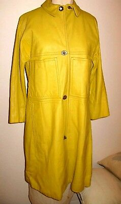 VINTAGE BONNIE CASHIN for SILLS & SAKS FIFTH AVE YELLOW GOLD 3/4 LEATHER COAT