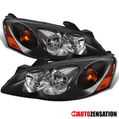 2005-2010 Pontiac G6 Black Clear Headlights Head Lamps Left+Rights Pair+Amber