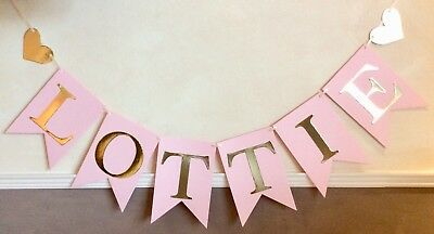 Girls Personalised Birthday Party Banner Pink And Gold Bunting (6 Letters)