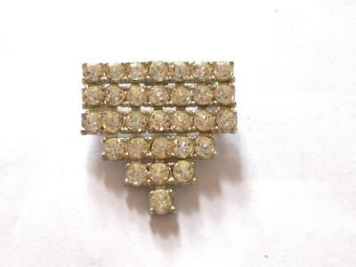 Vintage Art Deco Silver Tone Clear Glass Crystal Flapper Brooch