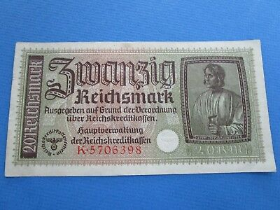 1939 World War 2 Era  Nazi German Reichsbank note 20 mark VF