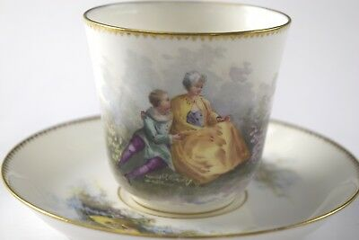 "Antique ""S.74"" French Portrait Demitasse Cup & Saucer #83 - NO RESERVE"