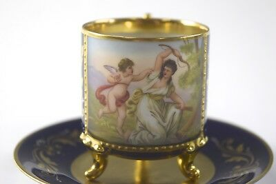 Antique Unmarked French Portrait Demitasse Cup & Saucer #84 - NO RESERVE