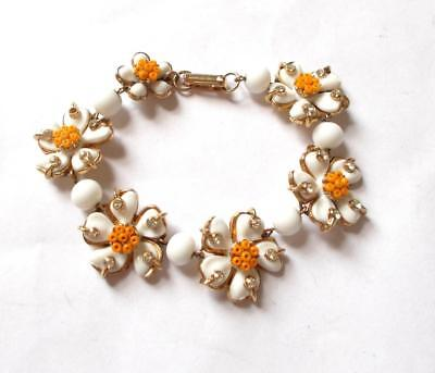 Vintage 40's Unsigned Coro Style White Glass Orange Bead Crystal Flower Bracelet