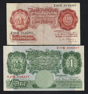 GREAT BRITAIN P-368c,369b. 10 Shillings - O'brien (F+) & 1 Pound - Beale (EF)