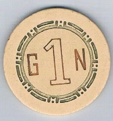 Golden Nugget Casino Off White G1N Roulette Chip Las Vegas Nevada 1958
