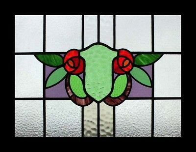 Fabulous Floral Mackintosh Rose English Stained Glass Window