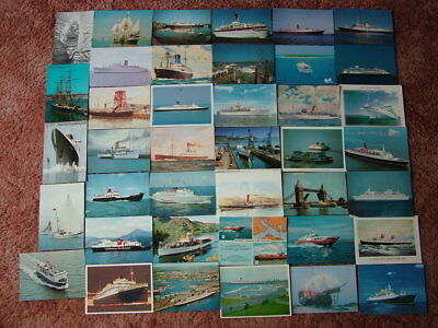 40 Postcards of SHIPS, BOATS & SEA GOING VESSELS. Used & Unused.