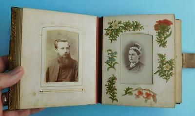 Fine 1870-90s Embossed Leather Photo Album de Fleurs Vintage Photographs