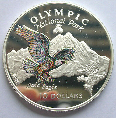 Cook 1996 Bald Eagle 10 Dollars Colour Silver Coin,Proof
