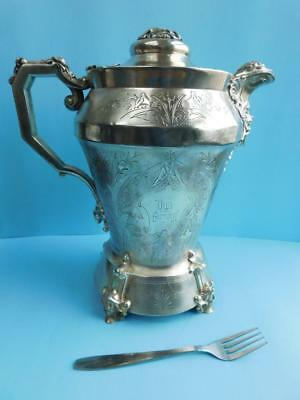 MASSIVE Antique American Silver Plate water Jug Pitcher Simpson Hall Miller & Co