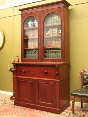 FINE ANTIQUE MAHOGANY SECRETAIRE with DESK, STORAGE + DISPLAY BOOKSHELVES c1880s
