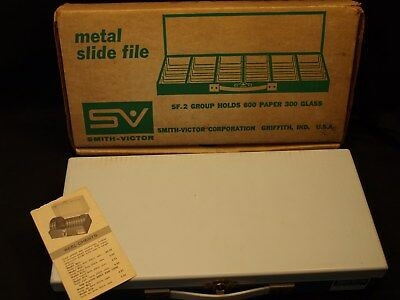 Full! Vintage Smith Victor USA Metal 600 2x2 Film Slide Case In Box w PW In EXC