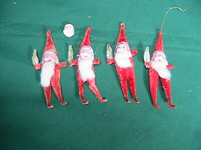 Vintage Santa Chenille  Spun Cotton Beard Christmas Ornament Celluloid Face