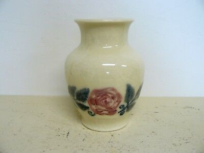 Antique 1945 Signed Rookwood Art Pottery Vase With Roses Decoration