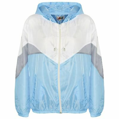 Kids Girls Boys Windbreaker Jackets Sky Blue Panelled Hooded Raincoats 5-13 Year