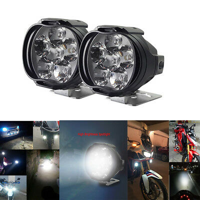 2pcs 1000LM 6500K Motorcycle 6LED Headlights Scooter Fog Spotlight Bracket Mount