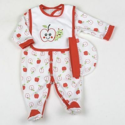 Baby boys girls cotton babygrow hat & bib outfit apples design 6-9 months BNWT