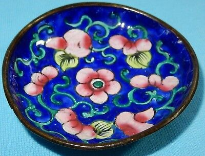 EARLY ANTIQUE CLOISONNE PIN TRAY BOWL  - FLORAL DECORATION - JAPANESE - 6 cm