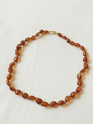 Fine Gilt Metal And Baltic Amber Necklace