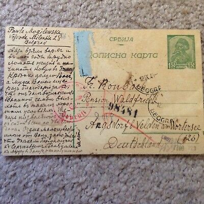 1944 Censored Postal Card Belgrade - Germany Multiple Markings