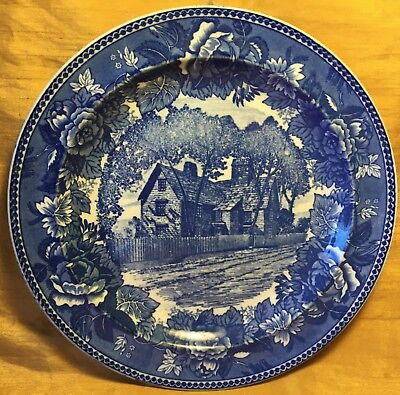 "Antique WEDGWOOD 9.25"" Blue Transfer Plate House of Seven Gables, Salem MA"