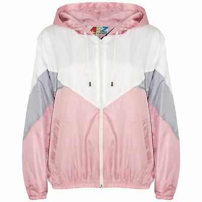 Kids Girls Boys Windbreaker Jackets Baby Pink Panelled Hooded Raincoat 5-13 Year