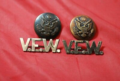 Silver Plated Early Vfw Collar Brass - #m10805