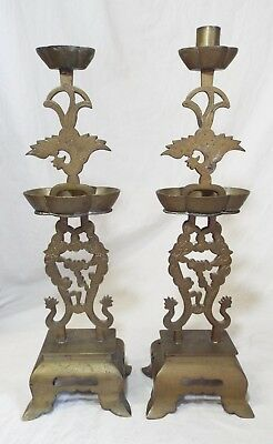 Pair of Antique ORIENTAL Chinese PHOENIX & DRAGONS Brass CANDLESTICK HOLDERS