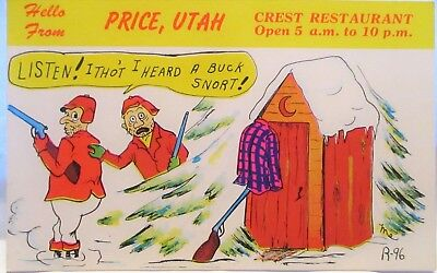 1950s POSTCARD HELLO FROM PRICE UTAH CREST RESTAURANT,I HEARD A BUCK SNORT