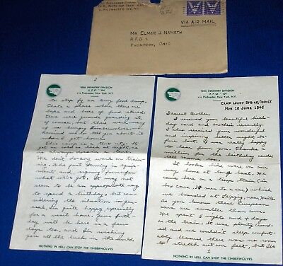 WWII Soldier Letter 1945 104th Infantry Train Trip Germany to Camp Lucky Strike