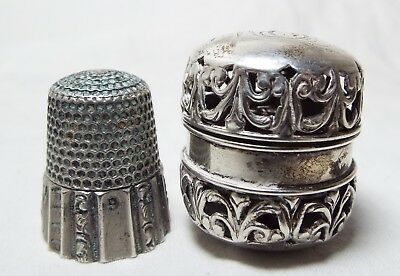 Antique STERLING SILVER Ornate REPOUSSE Chatelaine THIMBLE HOLDER W/ THIMBLE