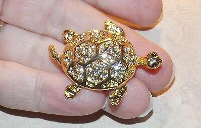 Designer Signed M Turtle Clear Rhinestone  Pin Goldtone Costume Jewelry