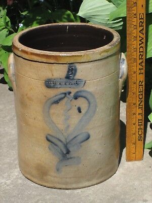 Unusual Tall Decorated BUTTER CROCK w/ Blue (Not Churn) - 3 Gallon Cylinder Form