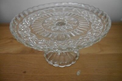 Beautiful Cut Glass Cake Stand - Height 11 cms - Diameter 21 cms