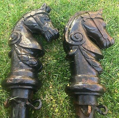 Horse Head Hitching Post Pair Ornate Cast Iron Decorative Antique Vintage 66""