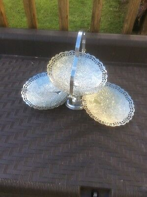 Vintage Folding Chrome Etched  Cake Stand