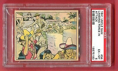 1941 Gum, Inc. Uncle Sam Card #34 Landing Force in Attack PSA 6 EX-MT 5 Higher