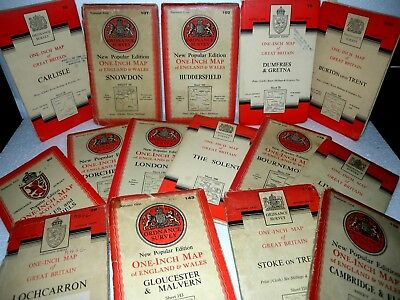 15x National Grid, CLOTH Ordnance Survey, One Inch maps,Various Places, Dates OS