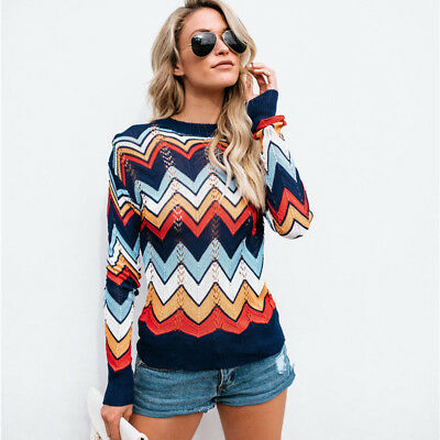Autumn Women Hollow Colorful Sweater Long Sleeve Knit Cardigan Loose Tops Blouse