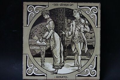 Very Old Minton Queen Of Hearts Picture Tile - Very Rare