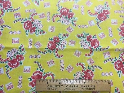 Vintage Cotton Feedsack Fabric 40s50s SWEET Roses & Lilies of the Valley EXC
