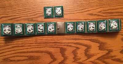 RARE Vintage Hand Painted Indo-PERSIAN Enamel Art Tiles (25) & Silver Story Belt