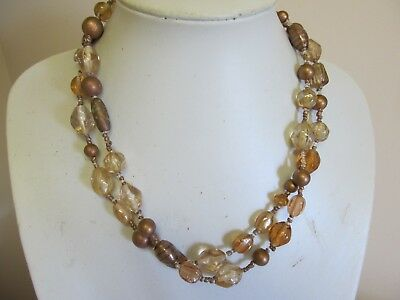 Vintage 2 Strand Glass Necklace In Brown Shades