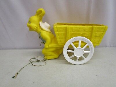 Vintage Plastic Blow Mold YELLOW EASTER BUNNY RABBIT PULLING CART