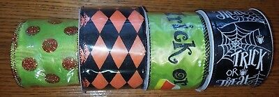 "Halloween - Trick Or Treat Argyle - Wired Ribbon - U Choose - 2 1/2"" X 3 Yards"