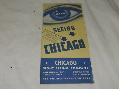 VINTAGE SOUVENIR SEEING CHICAGO - MAP GUIDE 1950's