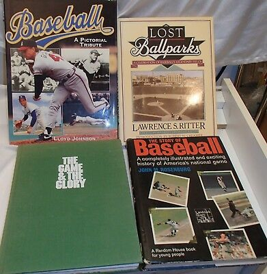 Old Baseball Books ~ Lot of 4 Hardcover: Lost Ballparks, Game & Glory, Story, Tr