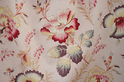 Antique French printed cotton fabric colorful poppy pattern pink ground 1920's
